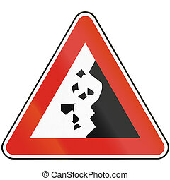 Road sign used in Slovakia - Falling rocks