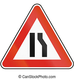 Road sign used in Slovakia - Road narrows from right