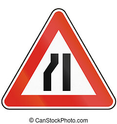 Road sign used in Slovakia - Road narrows from the left