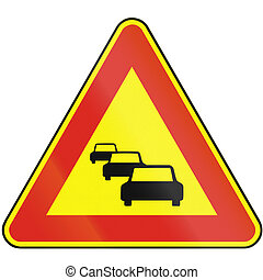 Road sign used in Slovakia - Traffic jam as a temporary sign...