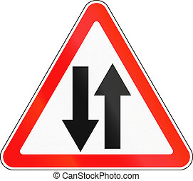 Road sign used in Russia - Two-way traffic