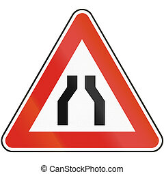 Road sign used in Slovakia - Road narrows from both sides