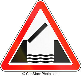Road sign used in Russia - Opening or swing bridge.