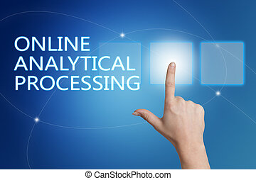 Online Analytical Processing - hand pressing button on...