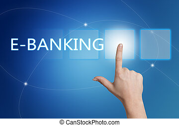 E-Banking - hand pressing button on interface with blue...