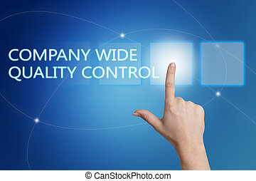 Company Wide Quality Control - hand pressing button on...