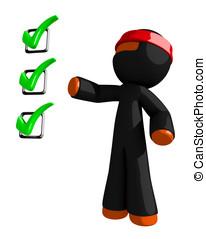 Orange Man Ninja Warrior with Checklist