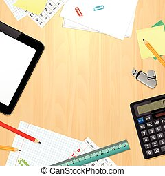 Office desk with business and office supplies