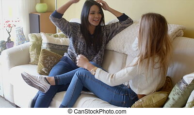 Young female friends spending a relaxing day - Two...