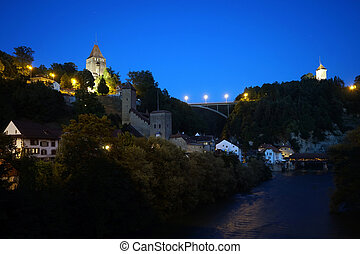 Fribourg at night - FRIBOUTG, SWITZERLAND - CIRCA AUGUST...