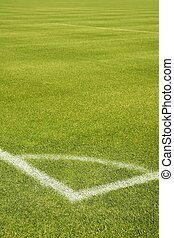 Football green grass field corner white lines - Football...