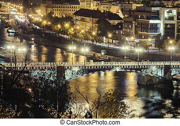 Prague at Night - Night view of famous european Prague city...