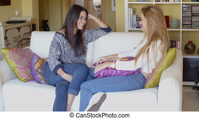 Happy female friends relaxing and chatting - Happy female...