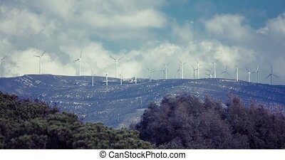 Lots of windmills near Tarifa, Andalusia, Spain (time lapse)