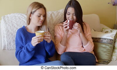 Two pretty young women enjoy a relaxing coffee together as...