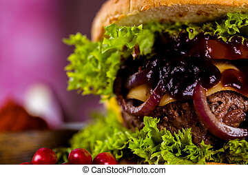 Tasty burger, American traditional cuisine