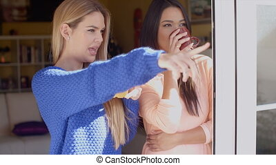 Two young woman enjoying refreshments - Two attractive young...