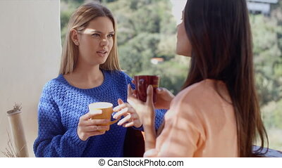 Two women having a friendly chat together at home over...