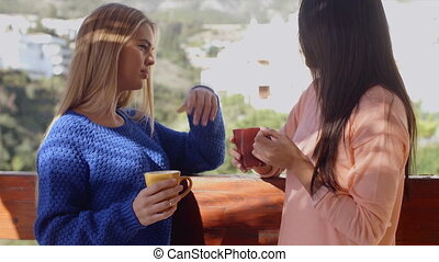 Young women chatting on an open-air patio - Two attractive...