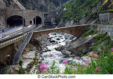 Tunel and railway - Tunel and railway near Andermatt in...