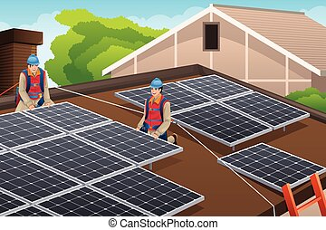 Workers Installing Solar Panels on Roof - A vector...