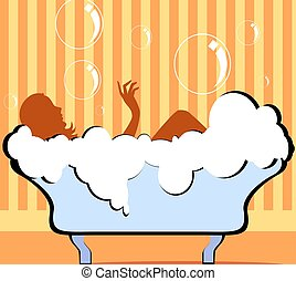Bath tub	 - Illustration of bathtub in colour background