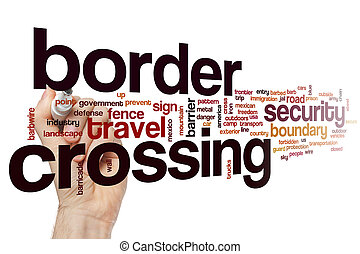 Border crossing word cloud concept - Border crossing word...