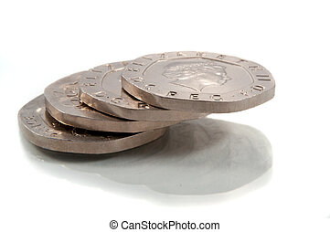 Twenty pence stack. - Close and low level of a small stack...