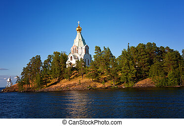 Russia, Ladoga lake. Island Valaam. Beautiful churches.