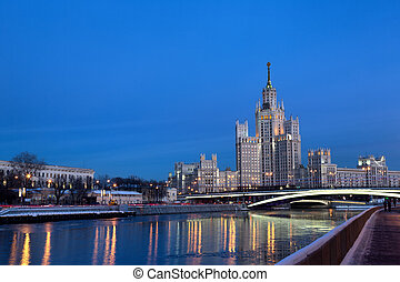 Moscow cityscape high-rise building on kotelnicheskaya...