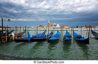 Gondolas on the Grand Canal against the background of the church of San Giorgio Maggiore, Venice, Italy