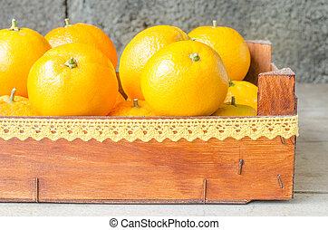 木制, 新鮮, 箱子, 橙