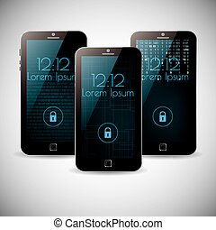 Smartphone interface background themes vector design