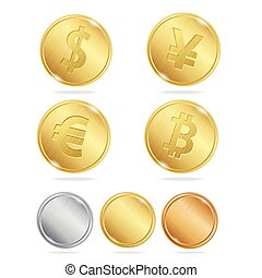 Gold Coins Dollar Euro Bitcoin Yuan Set Vector illustration