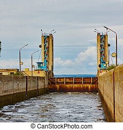 One of the locks on navigable river - One of the locks on...