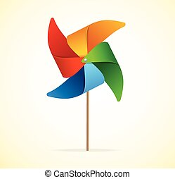 Colorful Windmill Vector - Colorful Windmill Isolated on...