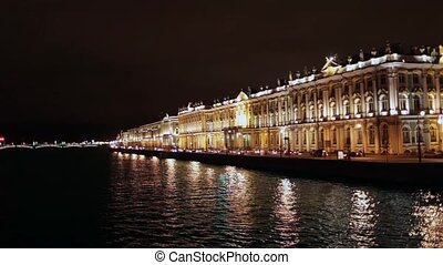 Hermitage Museum at night - St Petersburg, Russia December...