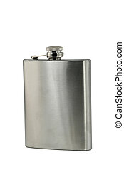 whiskey flask - A isolated whiskey flask on white