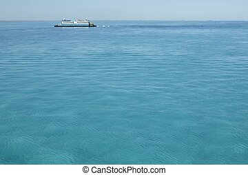 Caribbean ferry boat crossing to Isla Mujeres in Mexico