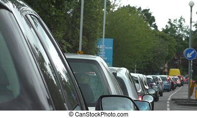 Cars stuck in the traffic jam - Traffic jam during rush hour...
