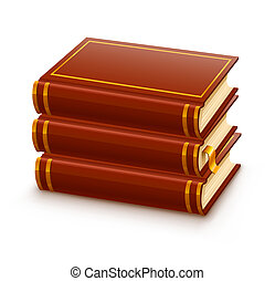pile of closed red books illustration, isolated on white...