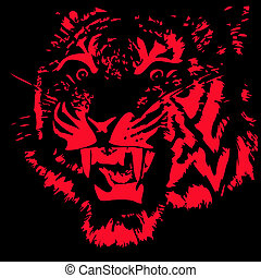 Tiger - Head of the furious tiger Vector illustration