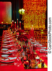 Table set for wedding or another catered event dinner -...