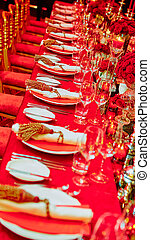 Table set for wedding or another catered event dinner. -...