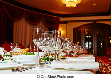 Table set for catered event dinner - Table set for wedding...