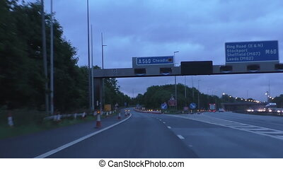 Motorway exit closed lane - Driving through the junction 2...