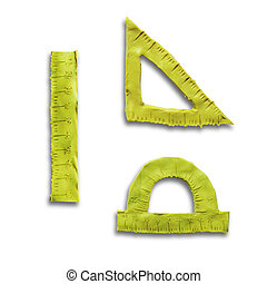 Plasticine yellow rulers for use in logo or web design Often...