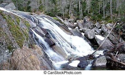 Waterfalls of Studeny potok in High Tatras mountains ,...