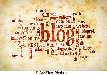 blog word cloud on vintage paper - cloud of words or tags...