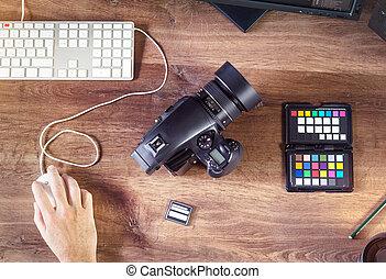 Escritorio, tiro, de, Un, moderno, digital, foto, cámara,...